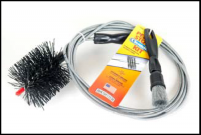 Pellet Stove Cleaning Kit w/ 2 Brush heads and Burn Pot Brush  3 Inch