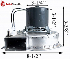Aladdin Pellet Stove Exhaust Motor Blower w/ Housing - 10-1113 G